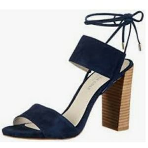 KENNETH COLE NY Dess blue suede wrap ankle heels